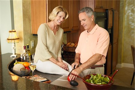 Couple in Kitchen Preparing Dinner Stock Photo - Rights-Managed, Code: 700-03171701