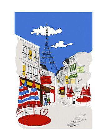 Illustration of Paris Street Scene Stock Photo - Rights-Managed, Code: 700-03210523