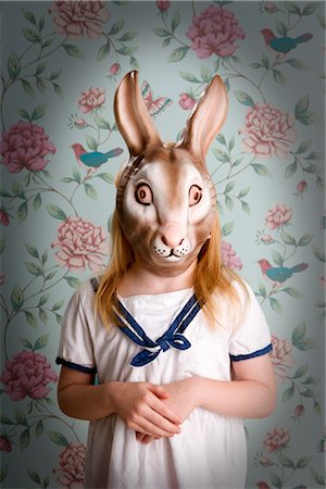 Little Girl Wearing a Bunny Mask Stock Photo - Rights-Managed, Code: 700-03210683