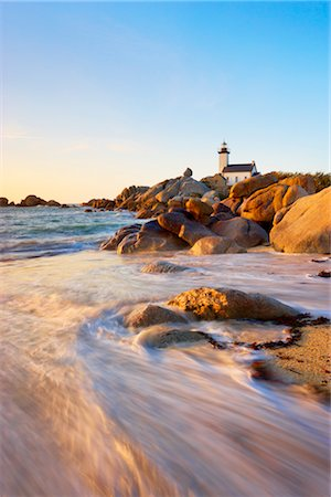 Lighthouse, Brignogan-Plage, Finistere, Brittany, France Stock Photo - Rights-Managed, Code: 700-03230034