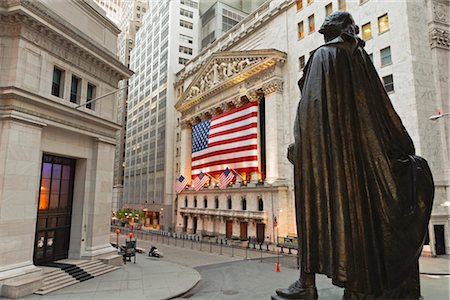 stock exchange building - New York Stock Exchange and Statue of George Washington, Manhattan, New York City, New York, USA Stock Photo - Rights-Managed, Code: 700-03240554
