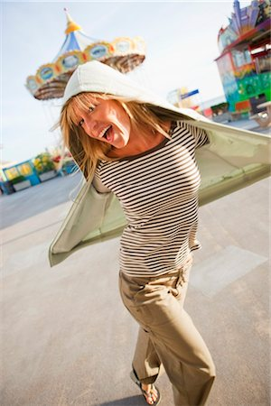 Happy Woman on the Boardwalk in Santa Cruz, California, USA Stock Photo - Rights-Managed, Code: 700-03295010