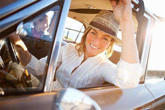 Woman Driving a Vintage Car, Santa Cruz, California, USA Stock Photo - Premium Rights-Managed, Artist: Ty Milford, Image code: 700-03295052