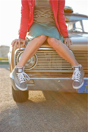 Woman Sitting on the Hood of a Vintage Car at the Beach, Santa Cruz, California, USA Stock Photo - Rights-Managed, Code: 700-03295063