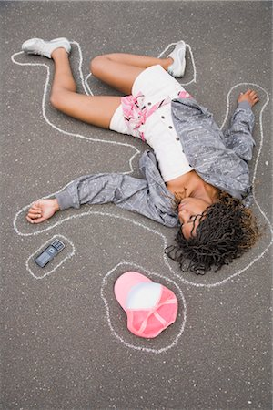 dead female body - Woman on Ground with Chalk Line around Body Stock Photo - Rights-Managed, Code: 700-03290291