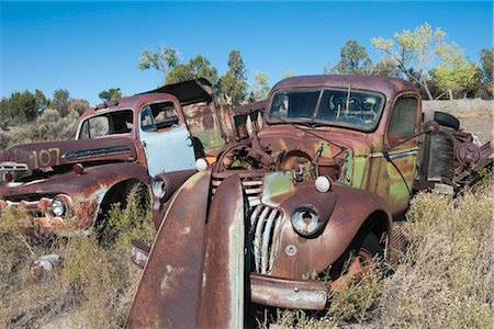 Vintage Pickup Trucks in Old Junk Yard, Colorado, USA Stock Photo - Rights-Managed, Code: 700-03333229