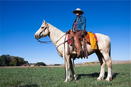 Cowgirl on Palomino Horse Stock Photo - Rights-Managed, Code: 700-03407349