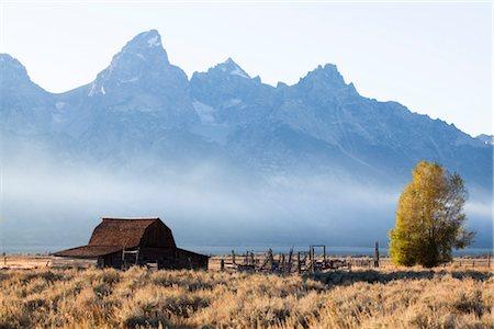 Wildfire Smoke at John Moulton Barn, Mormon Row, Jackson Hole, Grand Tetons, Grand Teton National Park, Wyoming, USA Stock Photo - Rights-Managed, Code: 700-03407446