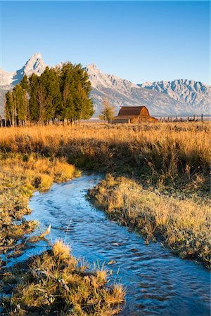 Stream at John Moulton Barn in front of Grand Tetons, Mormon Row, Jackson Hole, Grand Teton National Park, Wyoming, USA Stock Photo - Rights-Managed, Code: 700-03407447