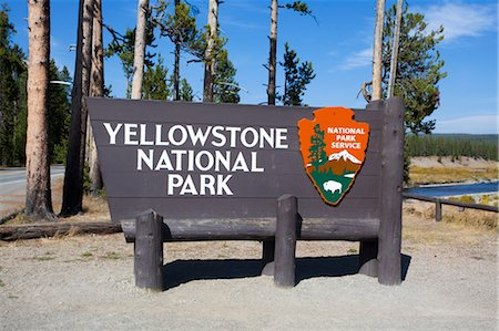 Yellowstone National Park South Entrance Sign, Wyoming, USA Stock Photo - Rights-Managed, Code: 700-03407463
