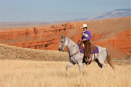 Cowgirl Riding Quarter Horse, Wyoming, USA Stock Photo - Rights-Managed, Code: 700-03407477