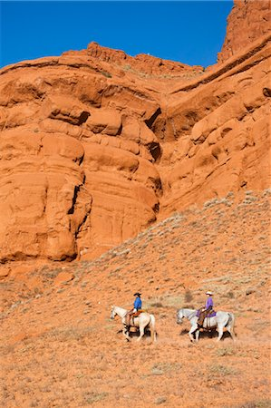 Cowgirls on Quarter Horses by Sandstone Cliff, Wyoming, USA Stock Photo - Rights-Managed, Code: 700-03407470