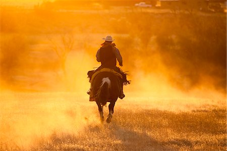 Cowboy Riding Horse at Sunset, Wyoming, USA Stock Photo - Rights-Managed, Code: 700-03407484