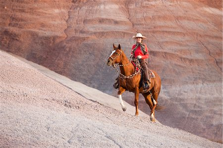 Cowgirl Riding Horse in Badlands, Wyoming, USA Stock Photo - Rights-Managed, Code: 700-03407486