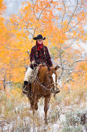 Cowgirl Riding Horse, Wyoming, USA Stock Photo - Rights-Managed, Code: 700-03407505