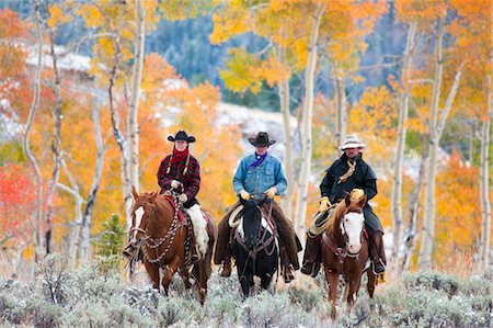 Cowgirl and Cowboys Riding Horses, Wyoming, USA Stock Photo - Rights-Managed, Code: 700-03407510