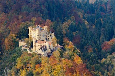 Hohenschwangau Castle in Autumn, Hohenschwangau, Schwangau, Ostallgau, Allgau, Bavaria, Germany Stock Photo - Rights-Managed, Code: 700-03407756