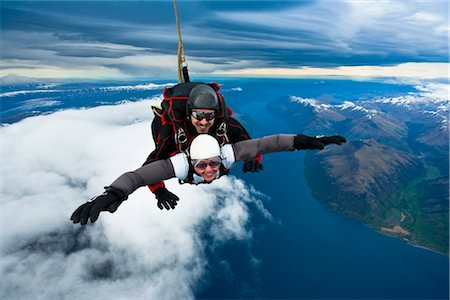 Tandem Sky Diving over The Remarkables in Queenstown, South Island, New Zealand Stock Photo - Rights-Managed, Code: 700-03403872