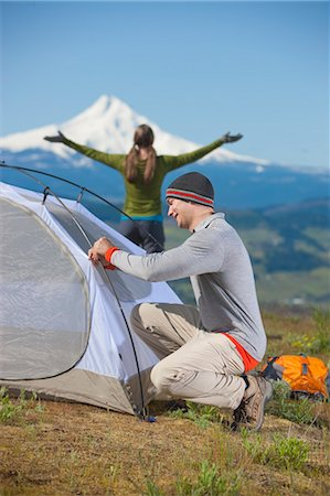 Couple Setting up Tent, Mt Hood in background near Hood River, Oregon, USA Stock Photo - Rights-Managed, Code: 700-03439922