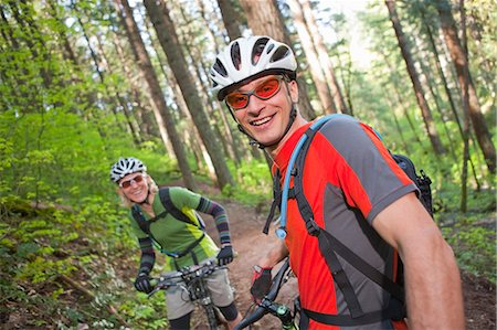 Man and Woman Mountain Biking on the Post Canyon Trail Near Hood River, Oregon, USA Stock Photo - Rights-Managed, Code: 700-03439934