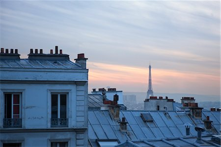Sunset Over Montmartre, Eiffel Tower in the Distance, Paris, France Stock Photo - Rights-Managed, Code: 700-03445230