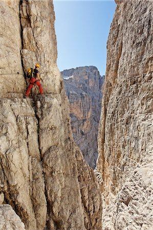 extreme terrain - Via Ferrata, Bocchette Centrali, Trento, Trentino Alto Adige, Brenta Dolomites, Dolomites, Italy Stock Photo - Rights-Managed, Code: 700-03445911