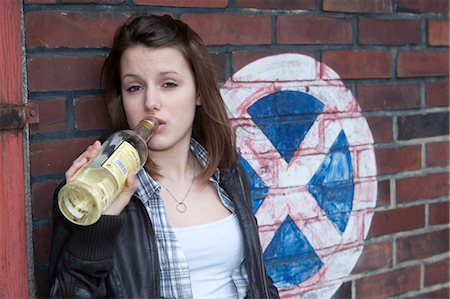 Teenage Girl Drinking Alcohol Stock Photo - Rights-Managed, Code: 700-03454508