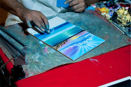 finger painting - Painting with Fingers, Mexico Stock Photo - Rights-Managed, Code: 700-03456784