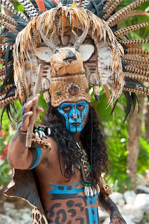 Man in Traditional Costume, Xcaret, Mexico Stock Photo - Rights-Managed, Code: 700-03456781