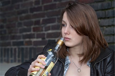 Teenage Girl Drinking Alcohol Stock Photo - Rights-Managed, Code: 700-03456806