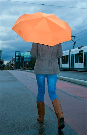 Woman Walking Down the Street in the Rain Stock Photo - Rights-Managed, Code: 700-03451469