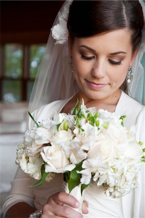 special event - Portrait of Bride with Bouquet Stock Photo - Rights-Managed, Code: 700-03466451