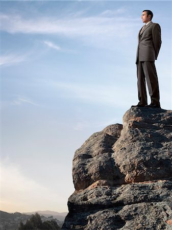 expectation - Businessman Standing on top of Cliff Stock Photo - Rights-Managed, Code: 700-03466496