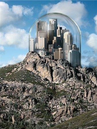 fragile - Glass Dome over City on top of a Hill Stock Photo - Rights-Managed, Code: 700-03466493