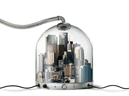 City inside Pressurized Glass Dome Stock Photo - Rights-Managed, Code: 700-03466506