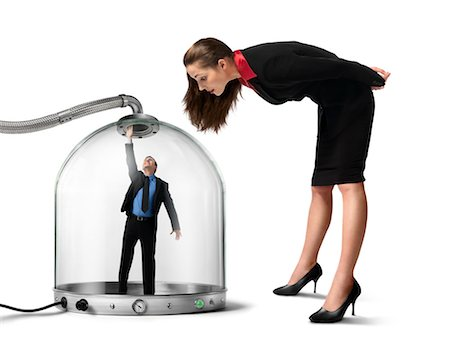 person overwhelmed stresss - Businesswoman looking at Businessman inside of Pressurized Glass Dome Stock Photo - Rights-Managed, Code: 700-03466502