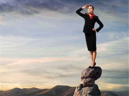 expectation - Businesswoman Standing on top of Cliff, Surveying Landscape Stock Photo - Rights-Managed, Code: 700-03466510