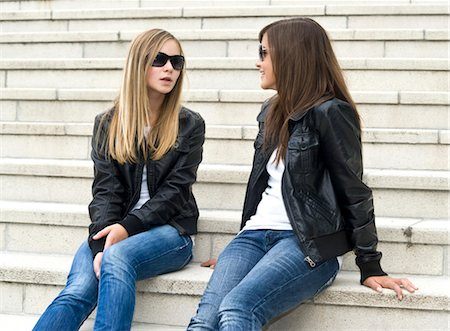 preteen girl - Two Girls Talking Stock Photo - Rights-Managed, Code: 700-03466727