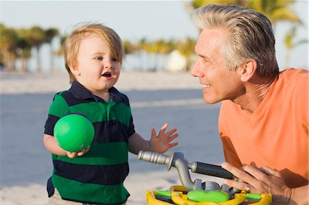 Grandfather and Grandson on Beach Stock Photo - Rights-Managed, Code: 700-03484985