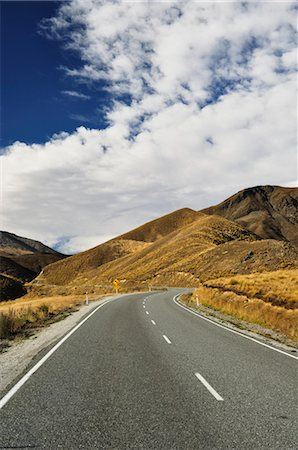 road landscape - Lindis Pass Road, Canterbury, South Island, New Zealand Stock Photo - Rights-Managed, Code: 700-03508389