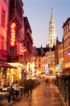 Outdoor Cafes at Dusk, Brussels, Belgium Stock Photo - Rights-Managed, Code: 700-03501291