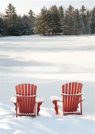 red chair - Adirondack Chairs in Snow Stock Photo - Rights-Managed, Code: 700-03503162