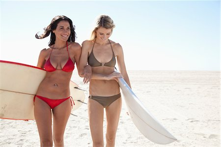 Two Women with Surfboards, Zuma Beach, Malibu, California, USA Stock Photo - Rights-Managed, Code: 700-03519187