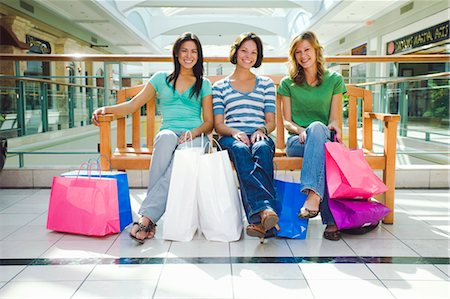 peter griffith - Three Women Sitting on Bench in Shopping Mall Stock Photo - Rights-Managed, Code: 700-03520319
