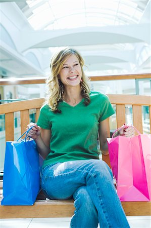 peter griffith - Woman Sitting on Bench in Shopping Mall Stock Photo - Rights-Managed, Code: 700-03520324