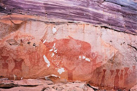 prehistoric - Pre-Historic Cliff Paintings in Pha Taem National Park, Ubon Ratchathani Province, Thailand Stock Photo - Rights-Managed, Code: 700-03520657