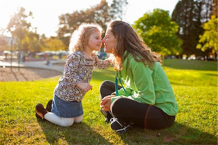 daughter kissing mother - Mother and Daughter in Green Lake Park in Autumn, Seattle, Washington, USA Stock Photo - Rights-Managed, Code: 700-03554476