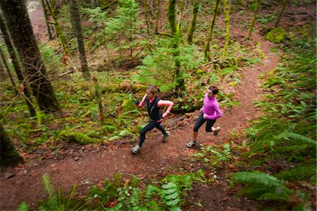 Women Running in Eagle Creek, Columbia River Gorge, Oregon, USA Stock Photo - Rights-Managed, Code: 700-03563845