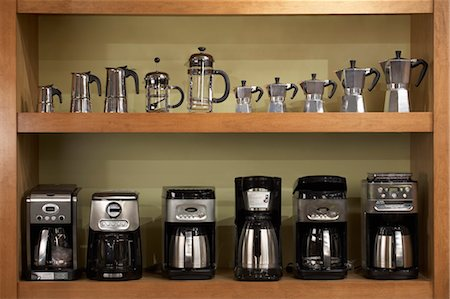 set - Variety of Coffee Pots and Presses on Shelf Stock Photo - Rights-Managed, Code: 700-03587200