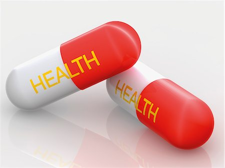 prevention - The Word Health Printed on Two Pills Stock Photo - Rights-Managed, Code: 700-03587261